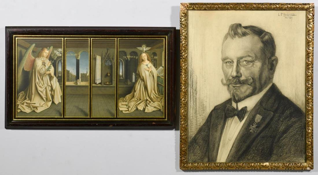 Versteeg Charcoal Portrait & Annunciation Litho