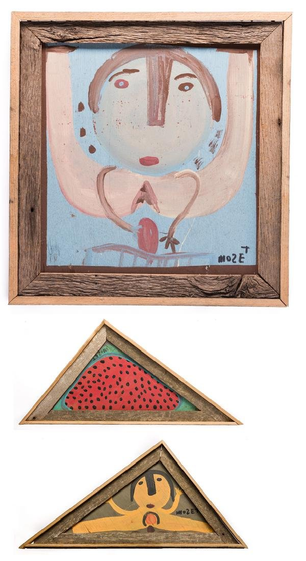3 Mose Tolliver Folk Art Paintings