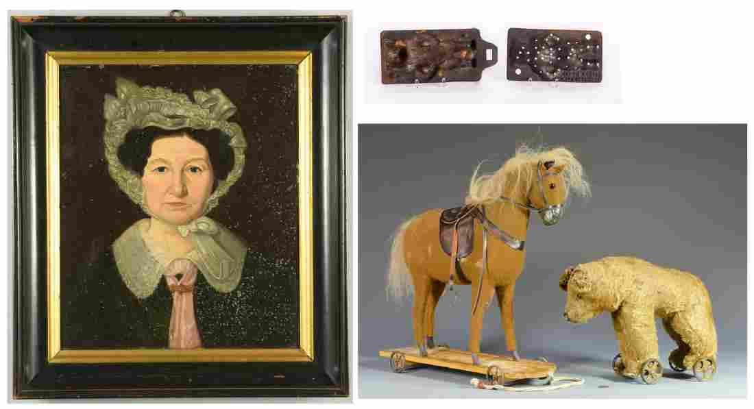 2 German Wheel Toys, Folk Art Portrait, & Burke Candle