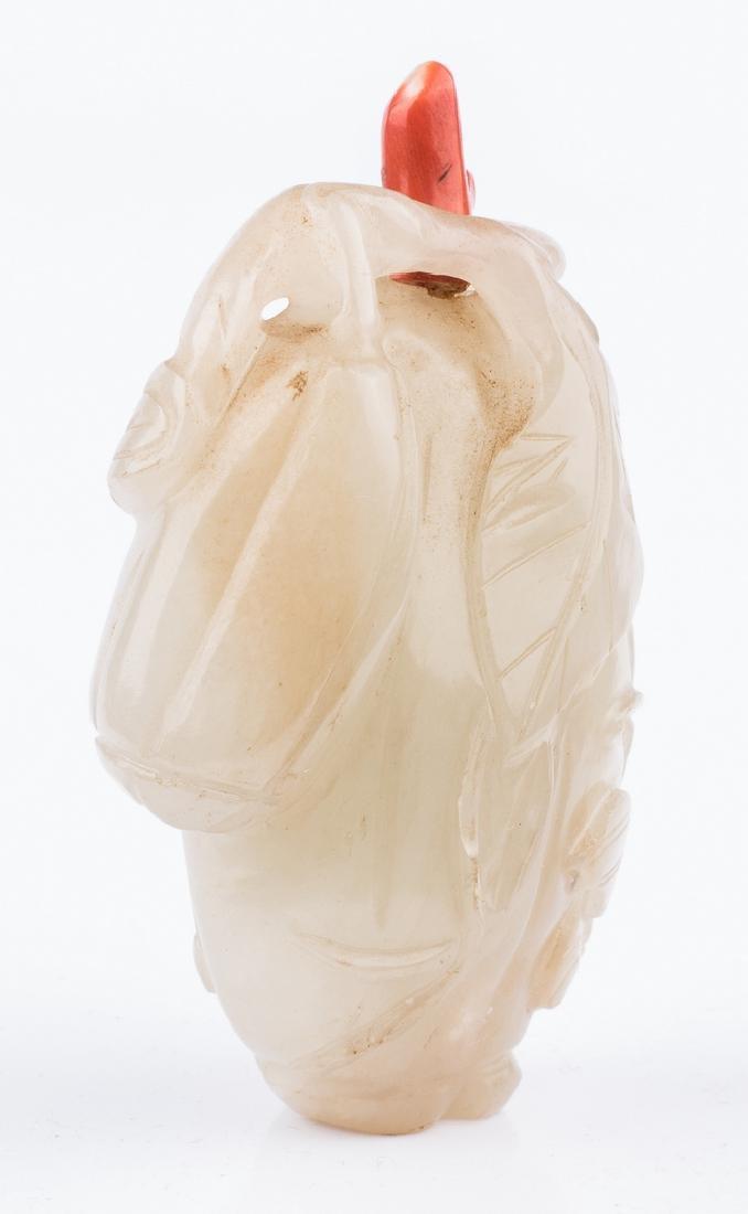 White Jade Carved Melon Snuff Bottle - 3