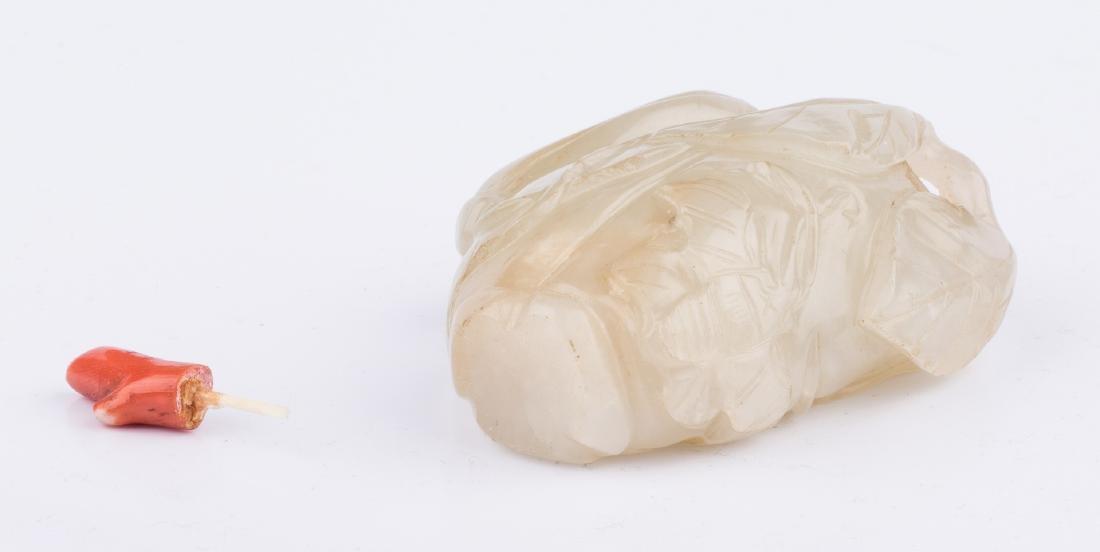 White Jade Carved Melon Snuff Bottle - 6