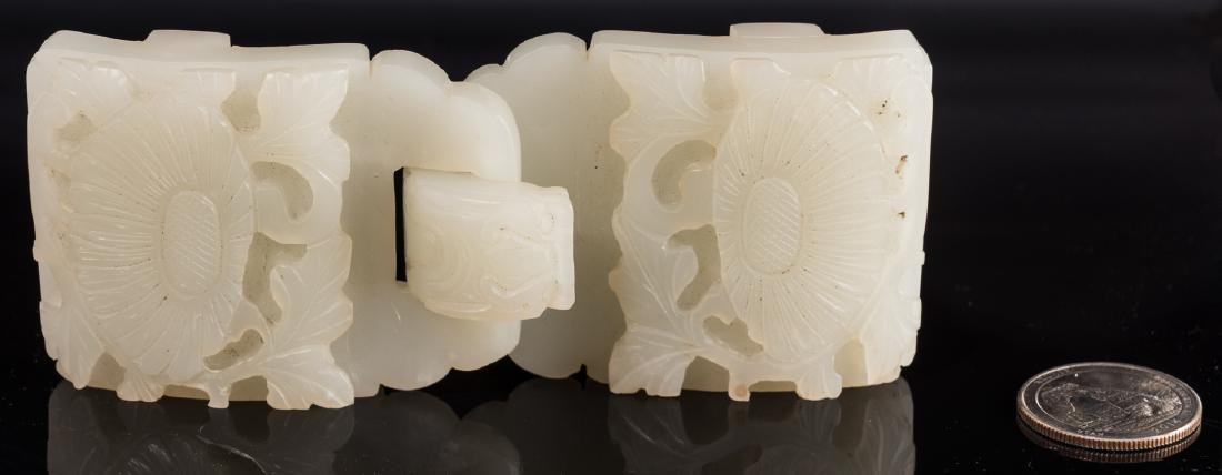 Chinese Celadon Jade Double Belt Buckle - 3