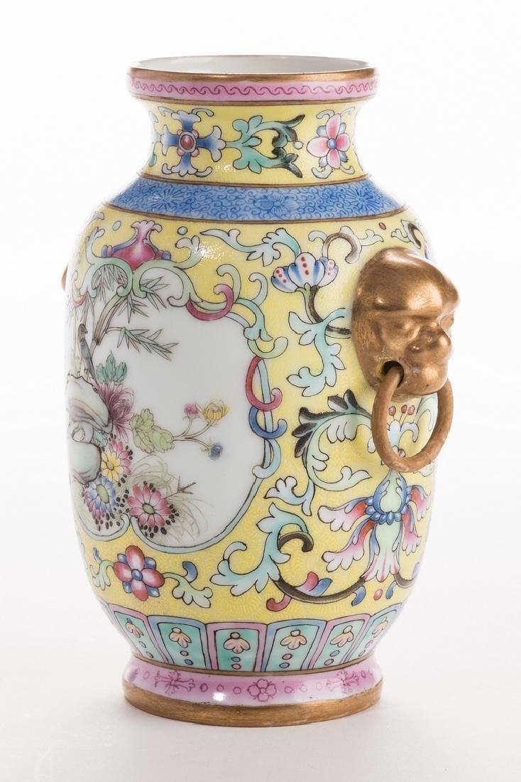 Chinese Yellow Ground Enamel Decorated Porcelain Vase - 6