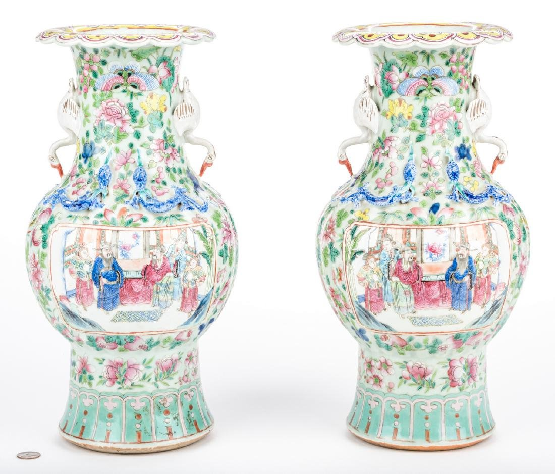 Pr. Chinese Famille Rose Vases w/ Figural Handles