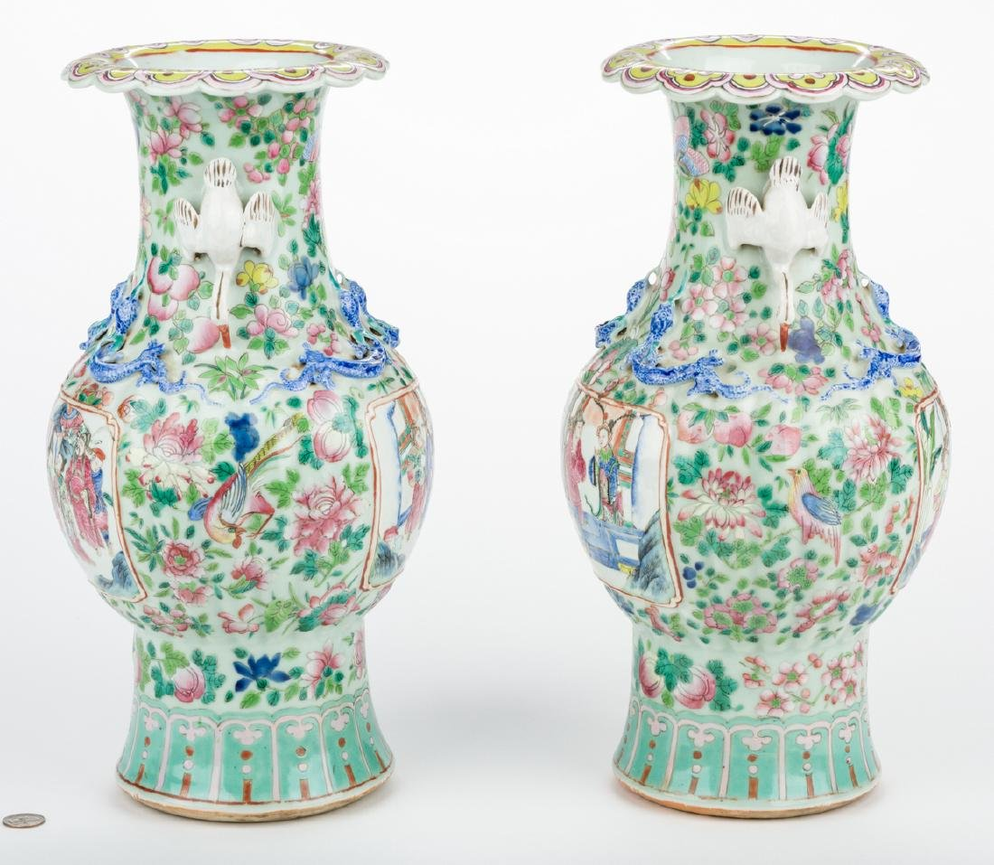 Pr. Chinese Famille Rose Vases w/ Figural Handles - 2