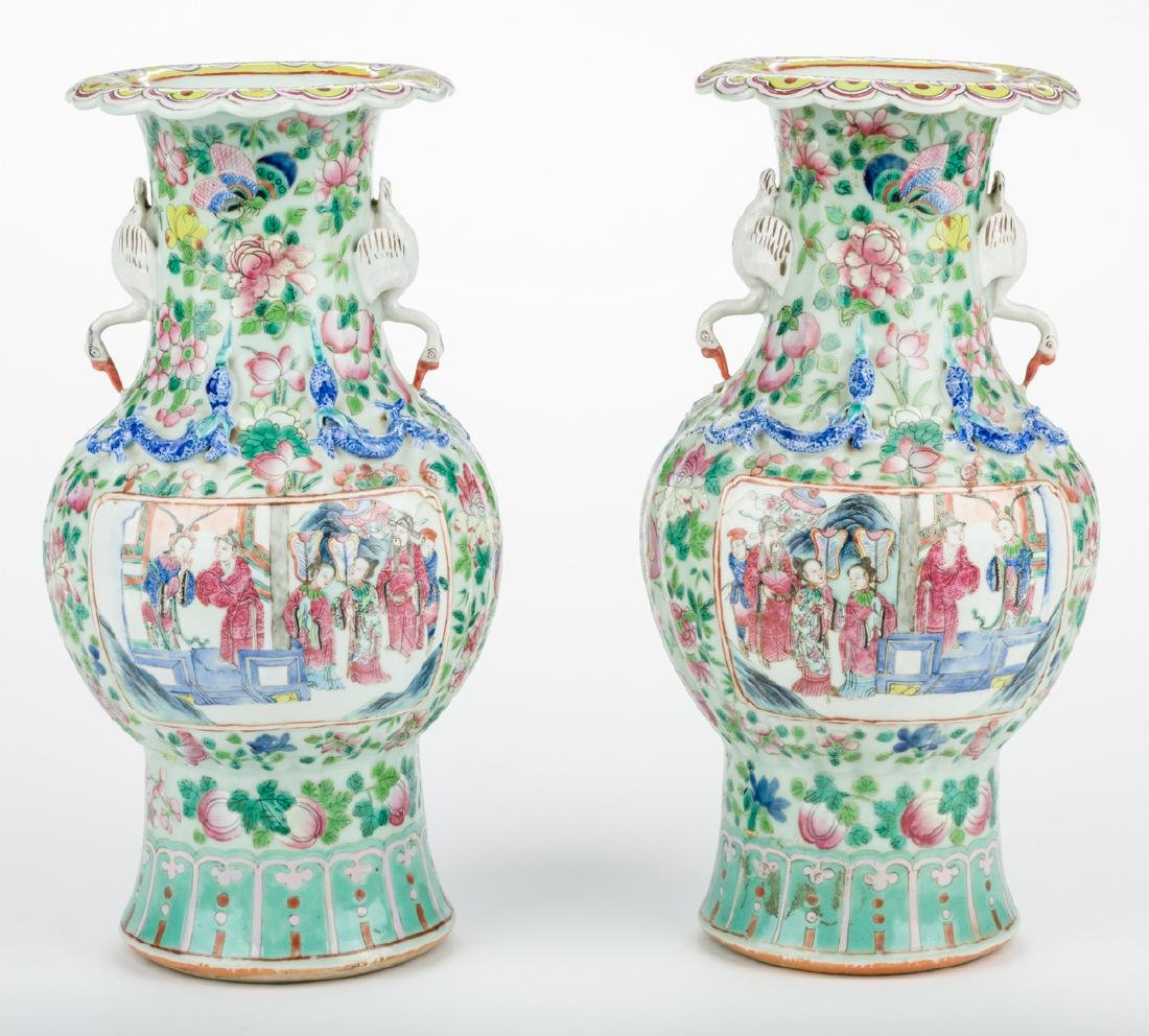 Pr. Chinese Famille Rose Vases w/ Figural Handles - 3