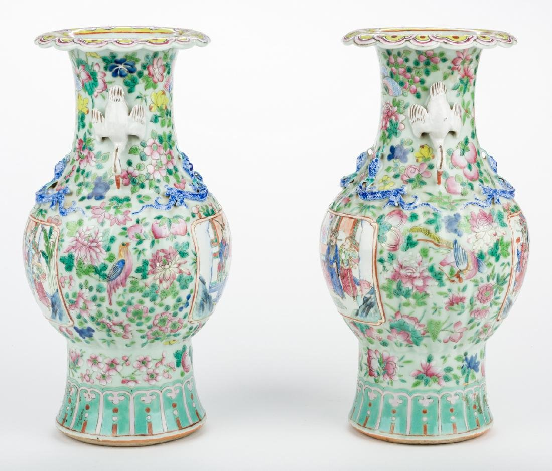 Pr. Chinese Famille Rose Vases w/ Figural Handles - 4