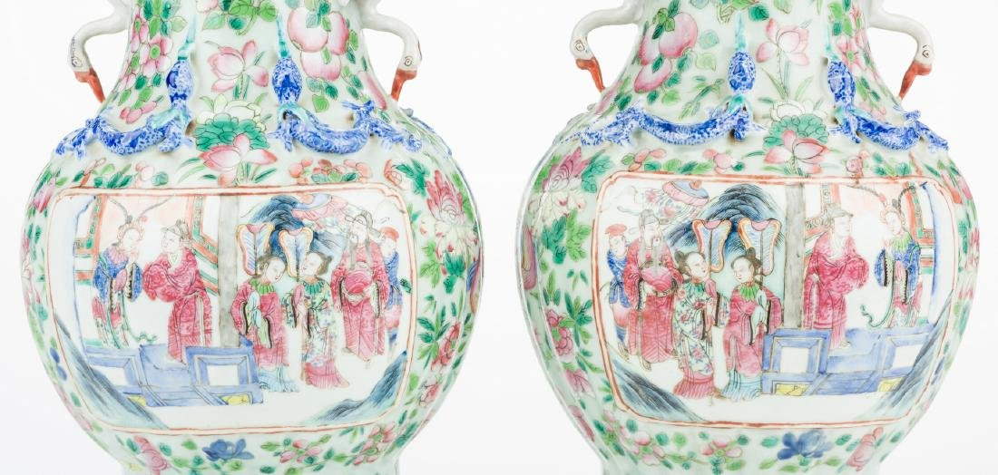 Pr. Chinese Famille Rose Vases w/ Figural Handles - 5
