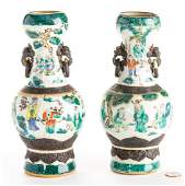 Pr. Chinese Famille Verte Crackleware Vases