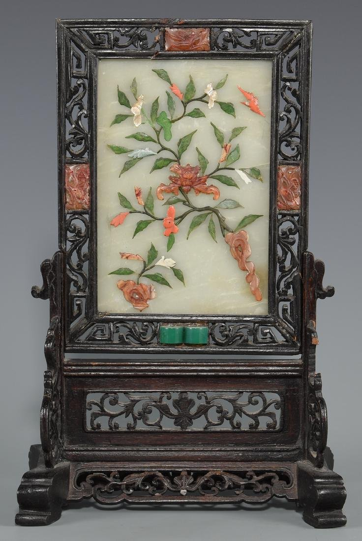 2 Chinese Hardstone Table Screens - 8