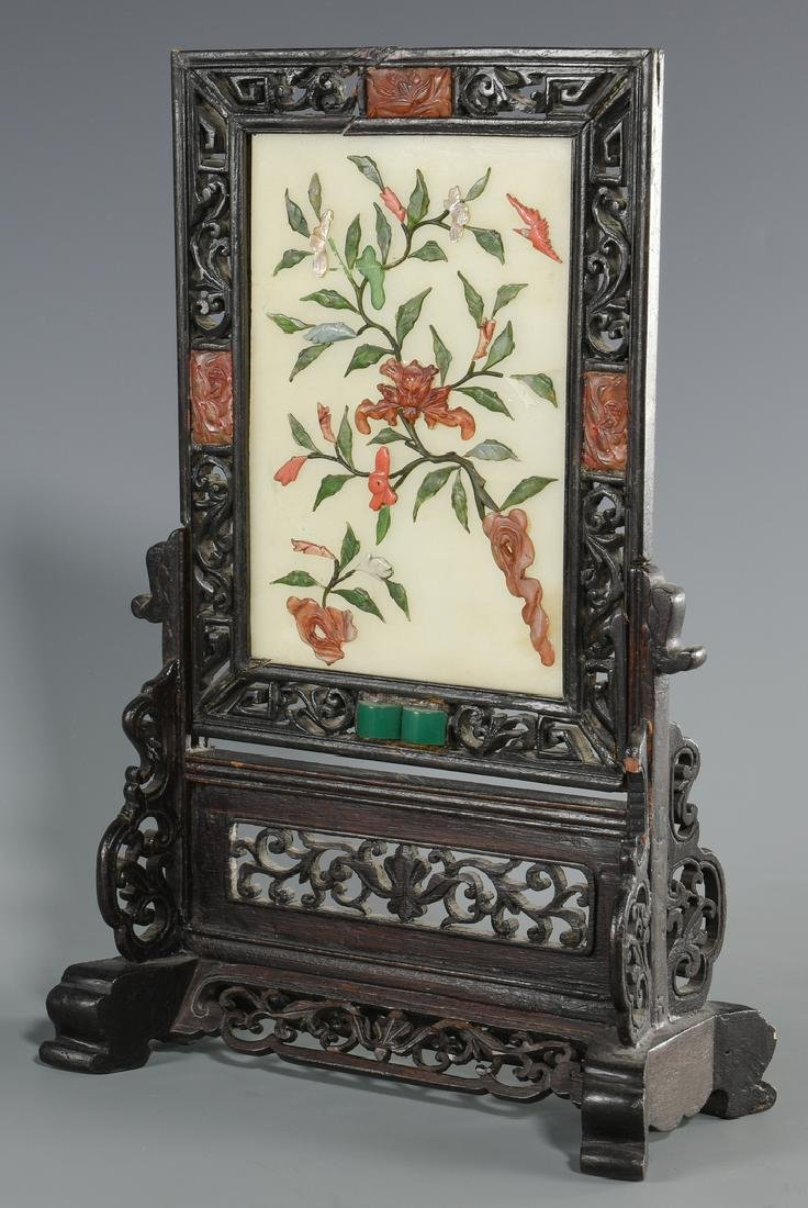 2 Chinese Hardstone Table Screens - 9