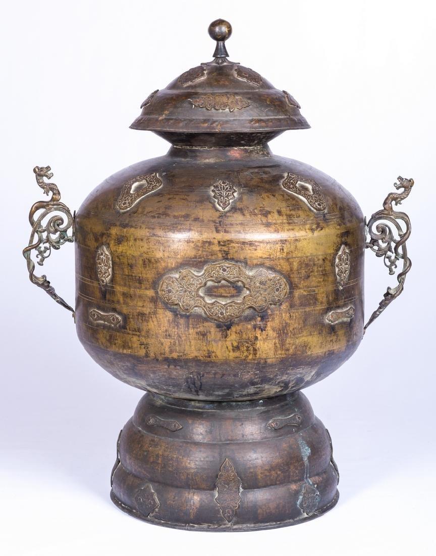 Large Asian Bronze Lidded Storage Vessel, Prob. Chinese