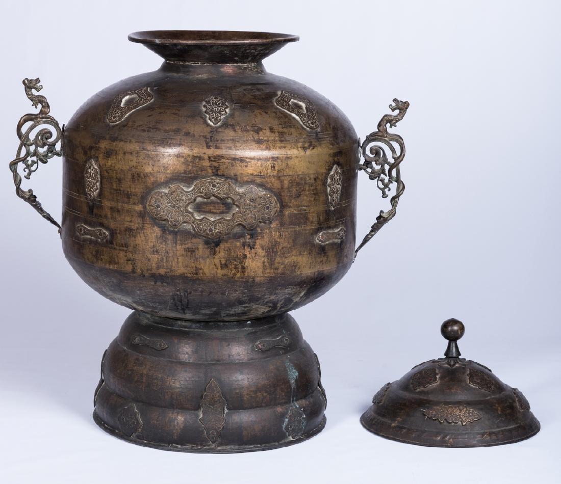Large Asian Bronze Lidded Storage Vessel, Prob. Chinese - 2