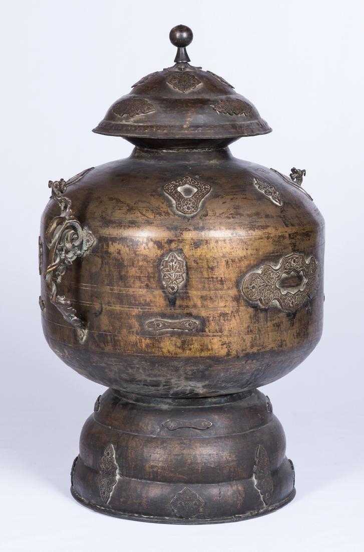 Large Asian Bronze Lidded Storage Vessel, Prob. Chinese - 3