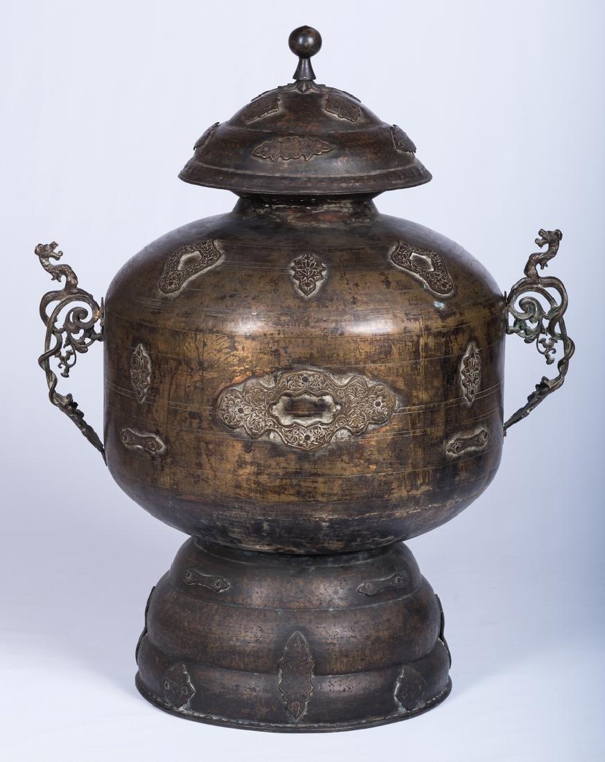 Large Asian Bronze Lidded Storage Vessel, Prob. Chinese - 5