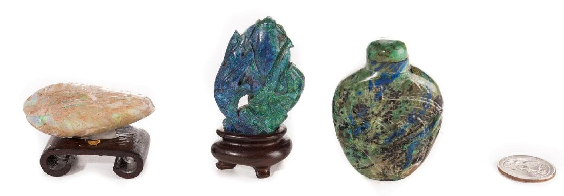 Turquoise Snuff Bottle plus Lapis and Quartz Carvings, - 3