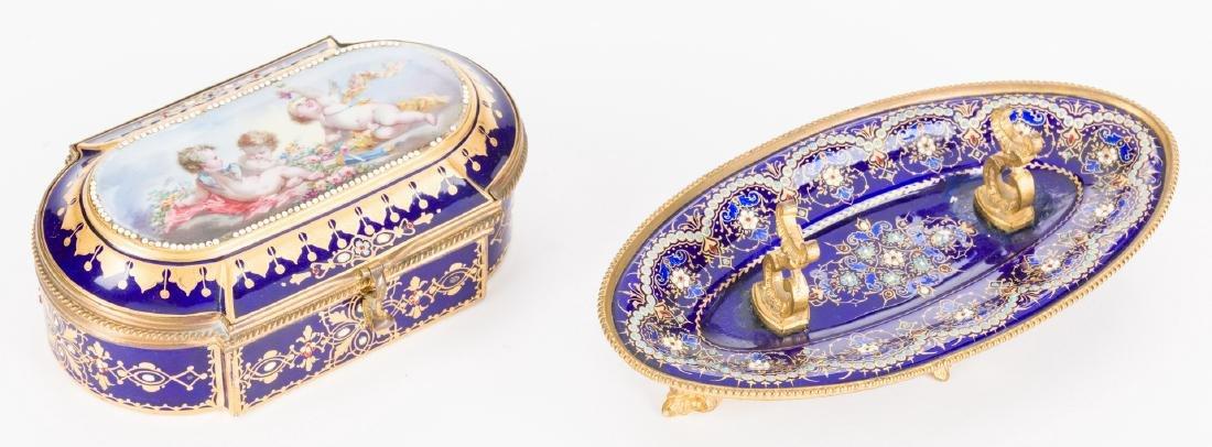19th c. French Enamels: Box & Tray