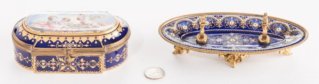 19th c. French Enamels: Box & Tray - 2