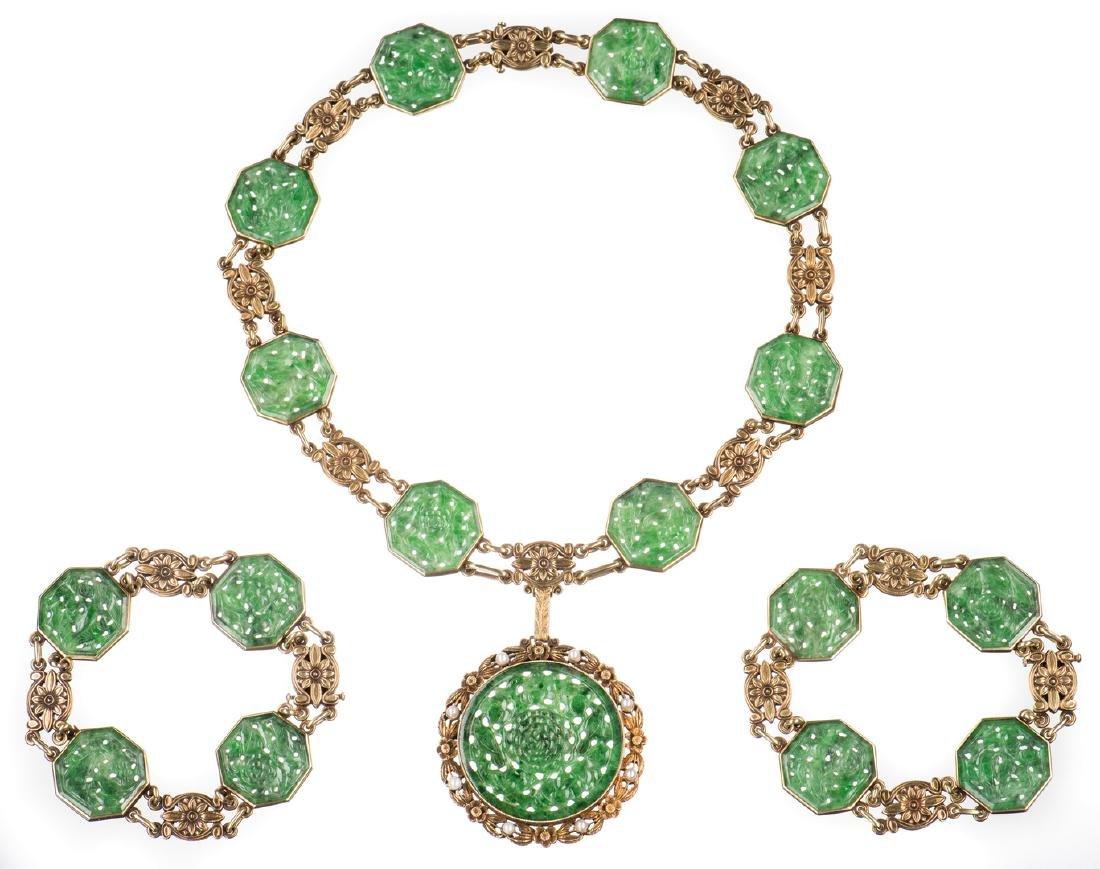 25b13f8df Tiffany Jade Pendant, Gold Demi Parure, Convertible - Aug 05, 2017 | Case  Antiques, Inc. Auctions & Appraisals in TN