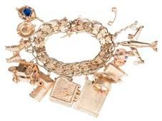 14K Vintage Charm Bracelet, 126 grams