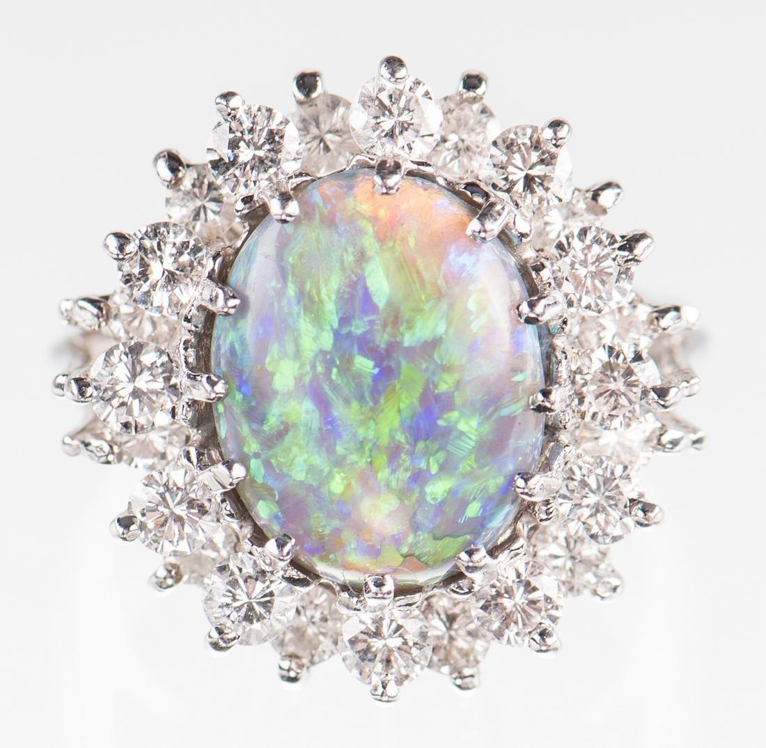 10 ct Lightning Ridge Opal Diamond Ring - 2