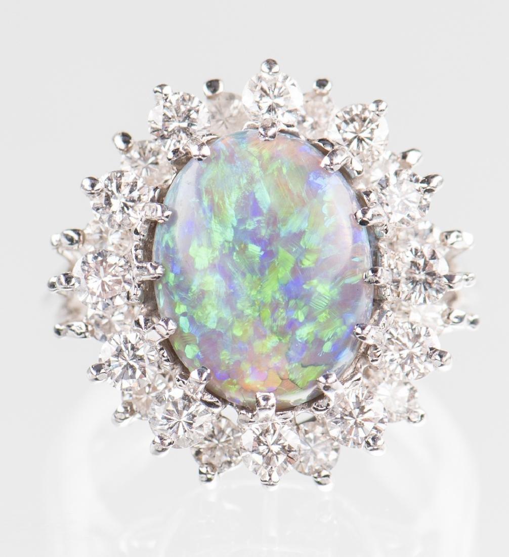 10 ct Lightning Ridge Opal Diamond Ring - 7