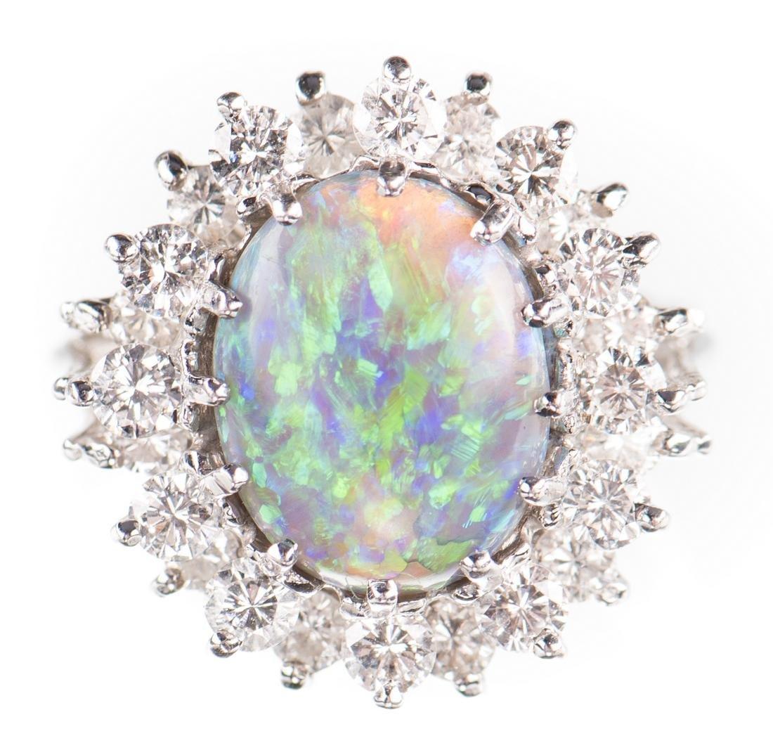 10 ct Lightning Ridge Opal Diamond Ring - 9