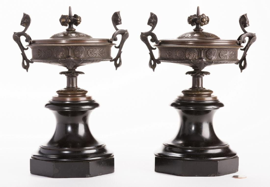 Pr. French Bronze Classical Urns on Marble bases
