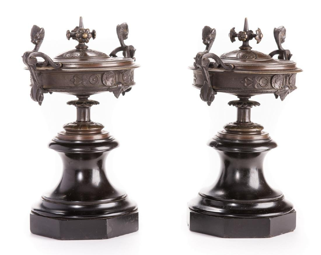 Pr. French Bronze Classical Urns on Marble bases - 2