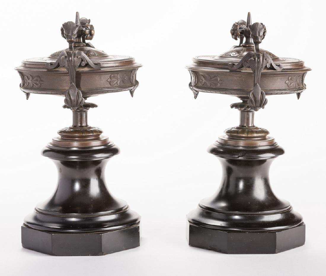 Pr. French Bronze Classical Urns on Marble bases - 4