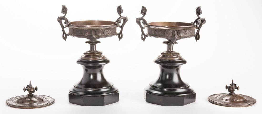 Pr. French Bronze Classical Urns on Marble bases - 5