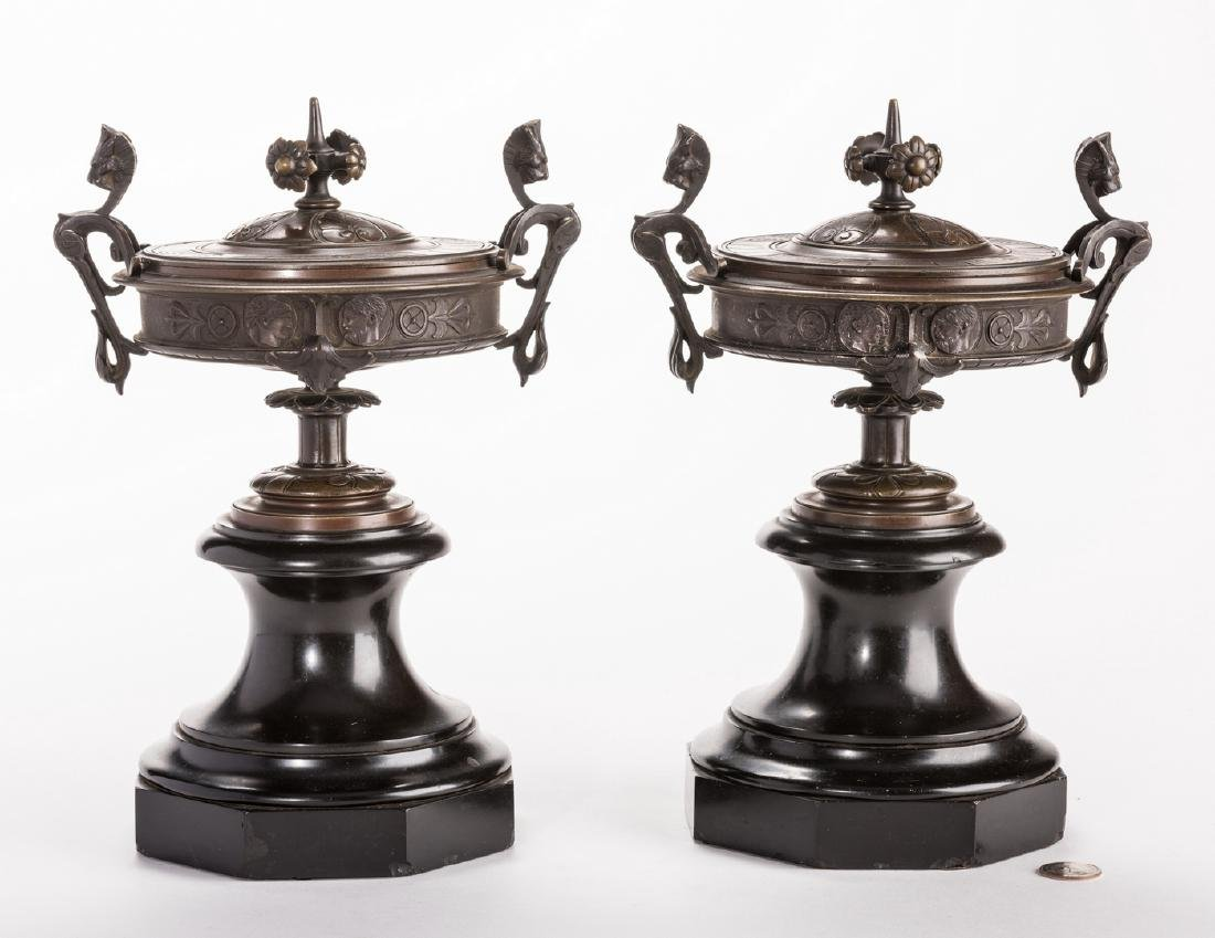 Pr. French Bronze Classical Urns on Marble bases - 8