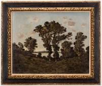 Henri-Joseph Harpignies, O/C, River Landscape