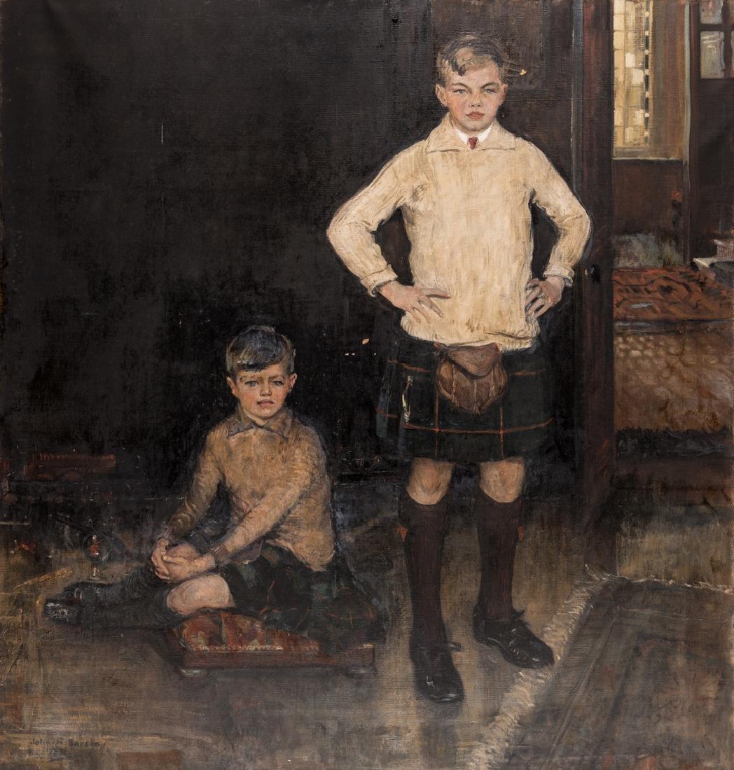 John Rankin Barclay Portrait of 2 Boys in Kilts