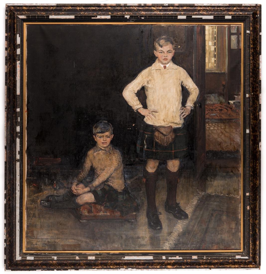 John Rankin Barclay Portrait of 2 Boys in Kilts - 2