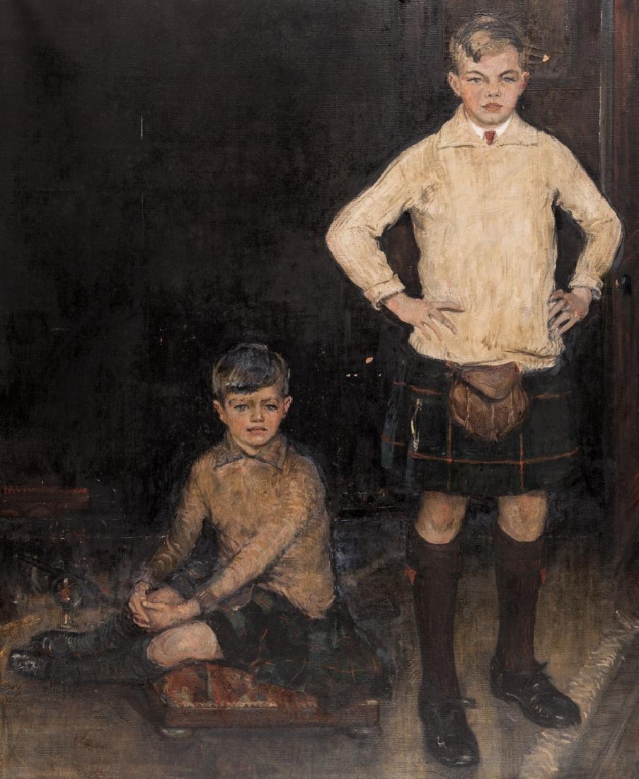 John Rankin Barclay Portrait of 2 Boys in Kilts - 3