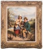 Thomas Faed Oil on Canvas Genre Scene