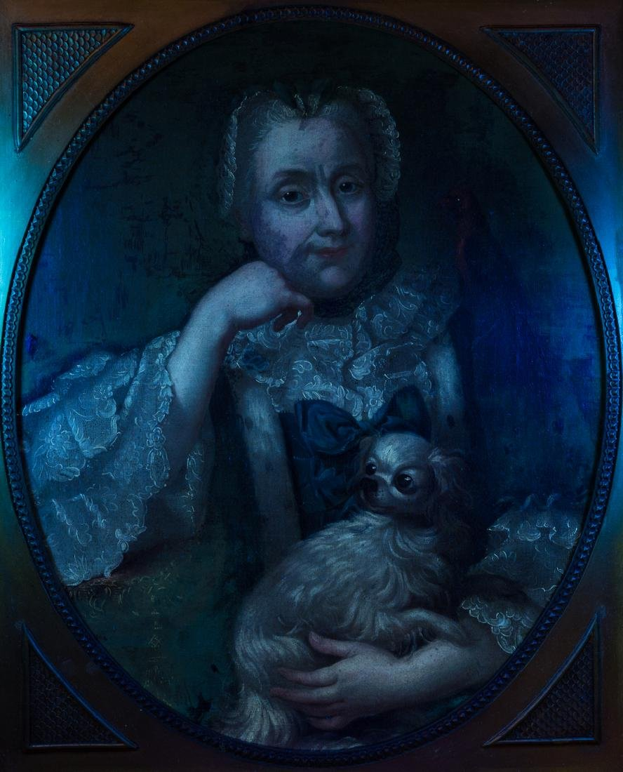 18th c. Portrait, Lady w/ Spaniel & Bird - 10