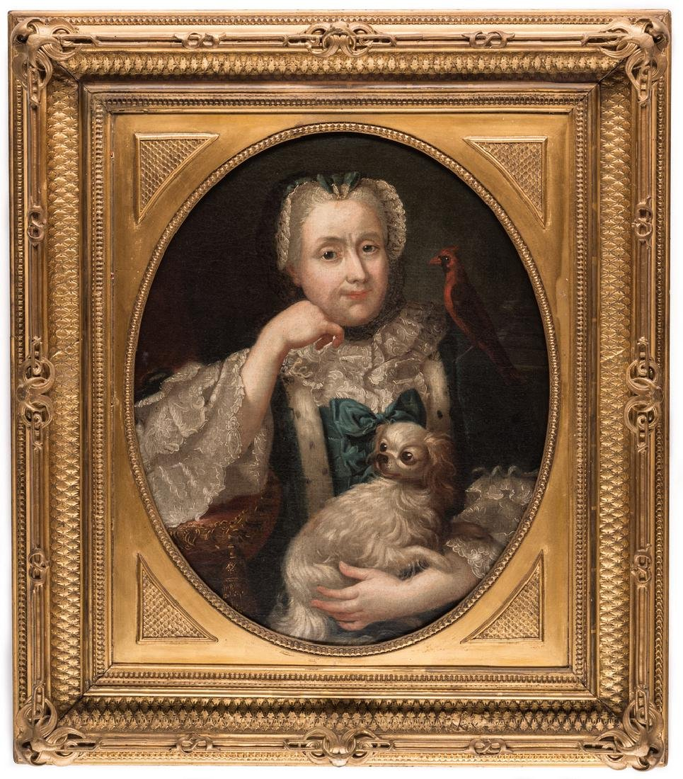 18th c. Portrait, Lady w/ Spaniel & Bird