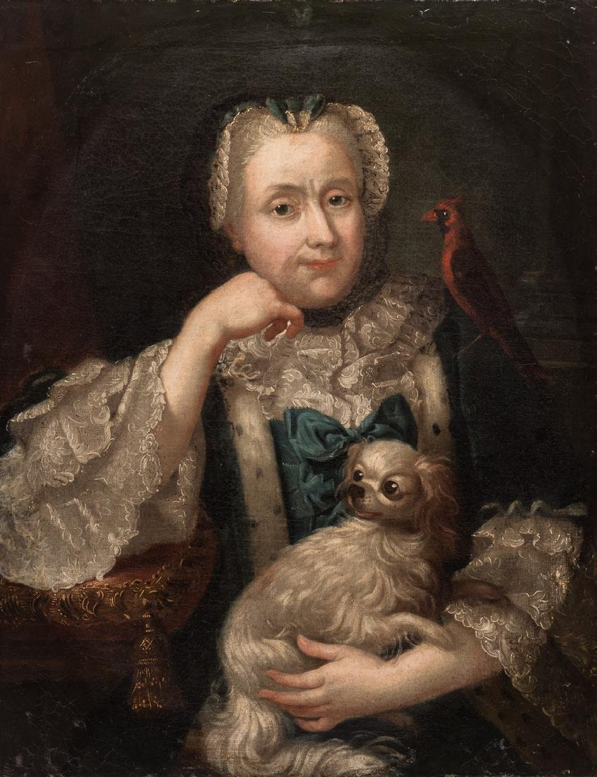 18th c. Portrait, Lady w/ Spaniel & Bird - 2