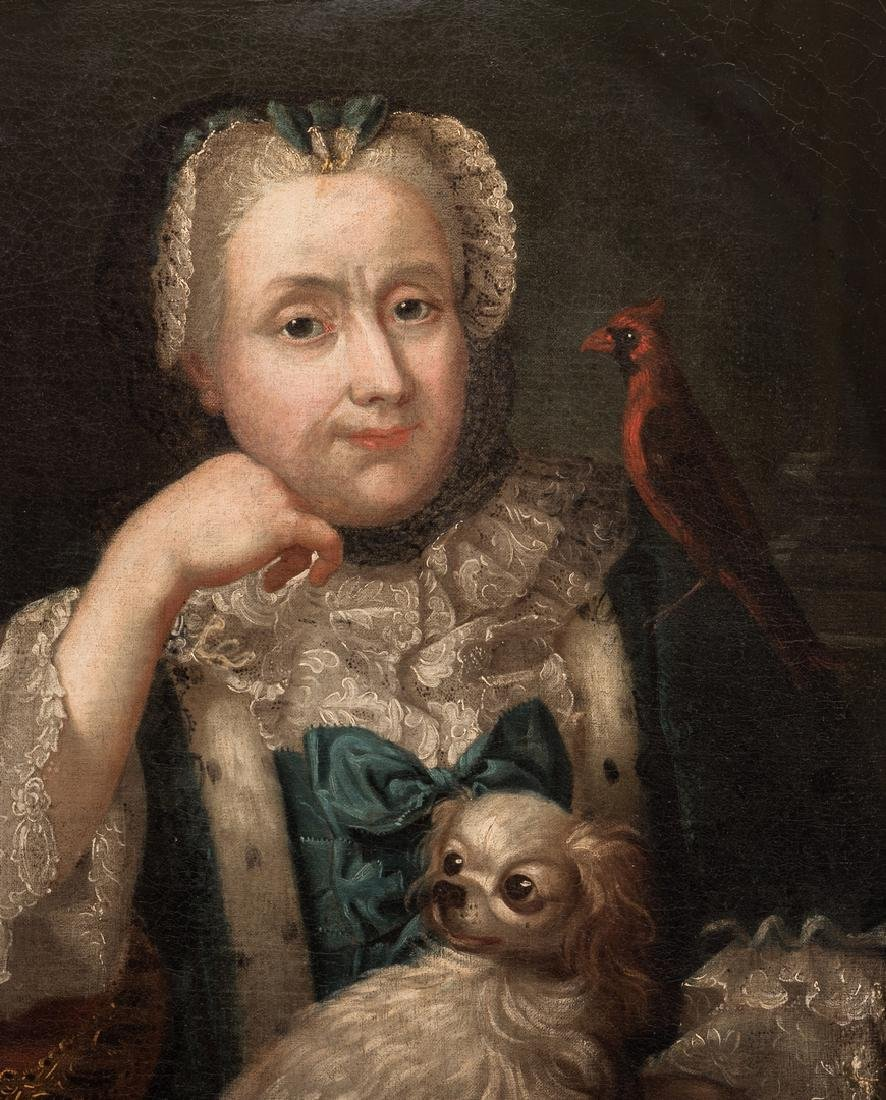 18th c. Portrait, Lady w/ Spaniel & Bird - 3