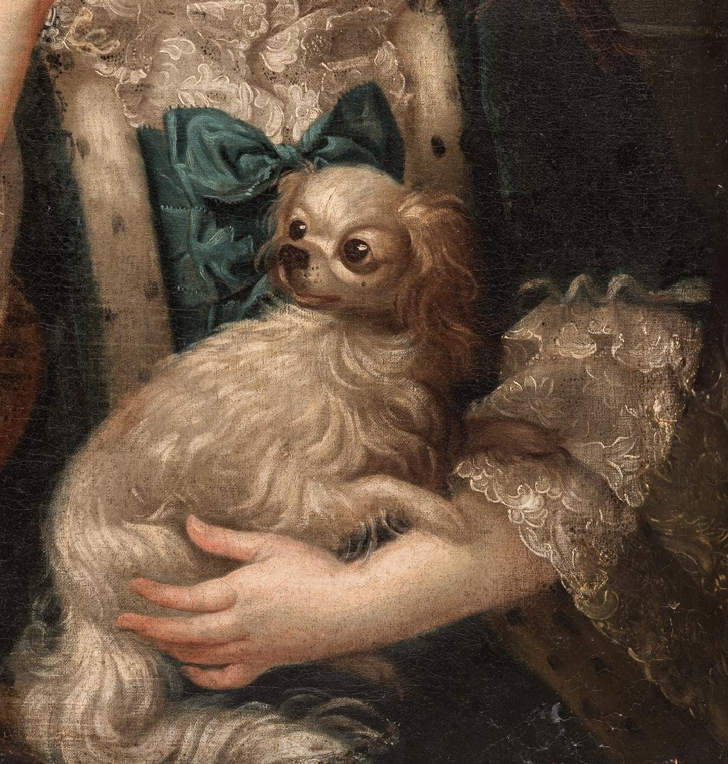 18th c. Portrait, Lady w/ Spaniel & Bird - 5