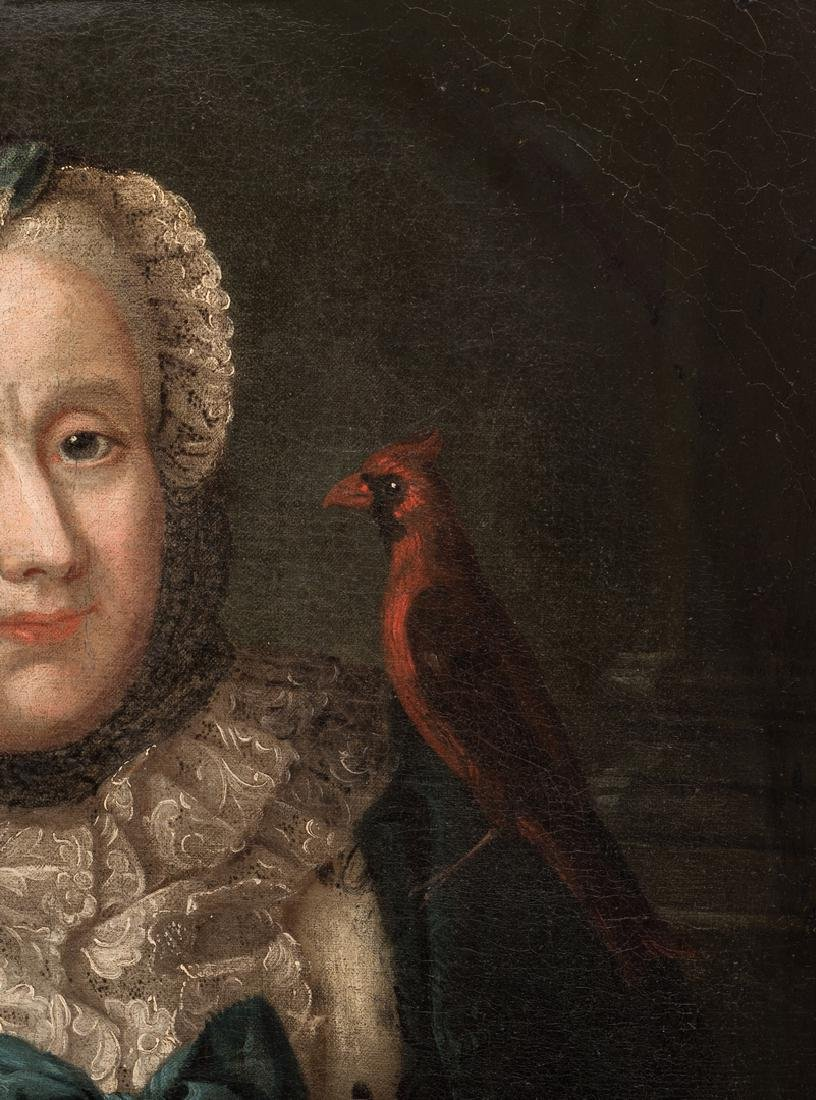 18th c. Portrait, Lady w/ Spaniel & Bird - 7