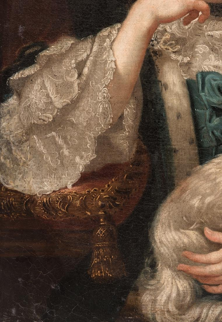 18th c. Portrait, Lady w/ Spaniel & Bird - 8
