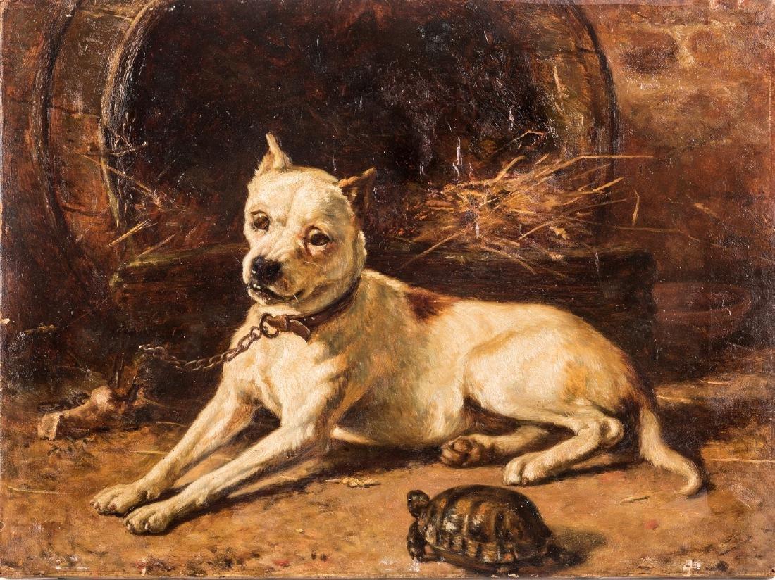 Edward Physick Oil on Canvas Dog Portrait