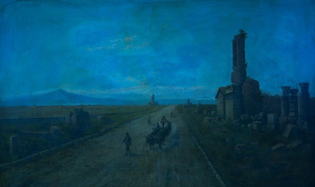 Signed Orientalist Landscape, Road to Damascus - 10