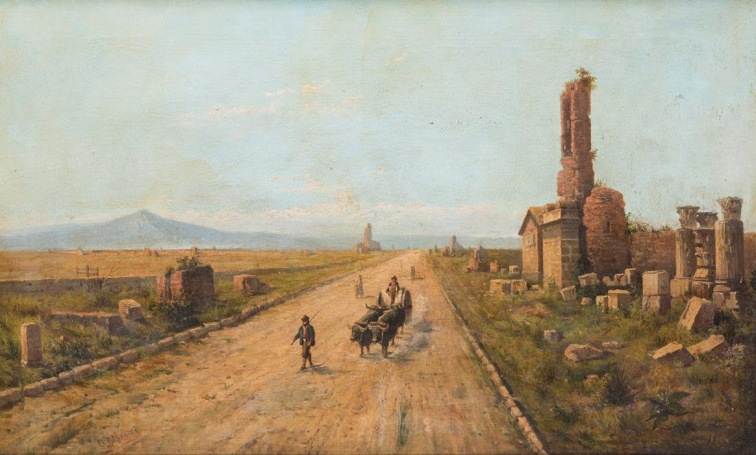 Signed Orientalist Landscape, Road to Damascus