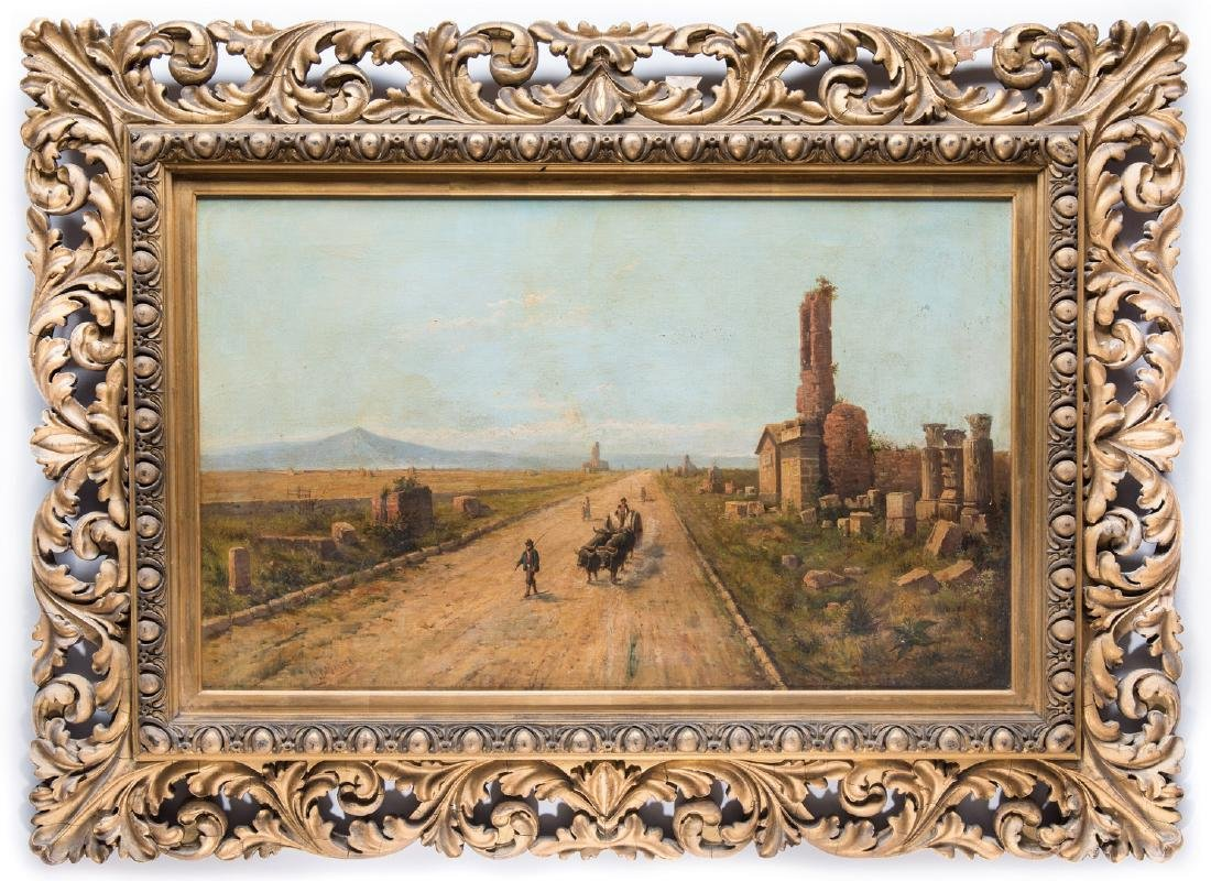 Signed Orientalist Landscape, Road to Damascus - 2