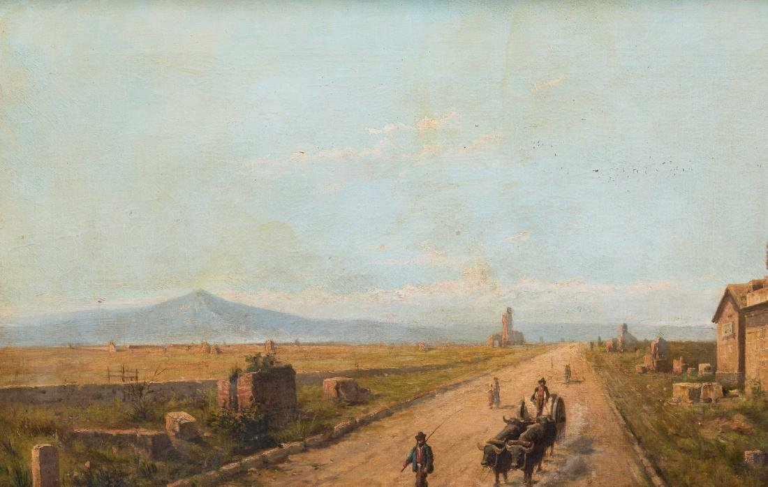Signed Orientalist Landscape, Road to Damascus - 3