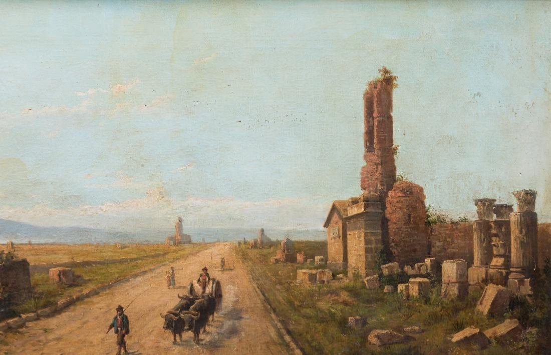 Signed Orientalist Landscape, Road to Damascus - 4